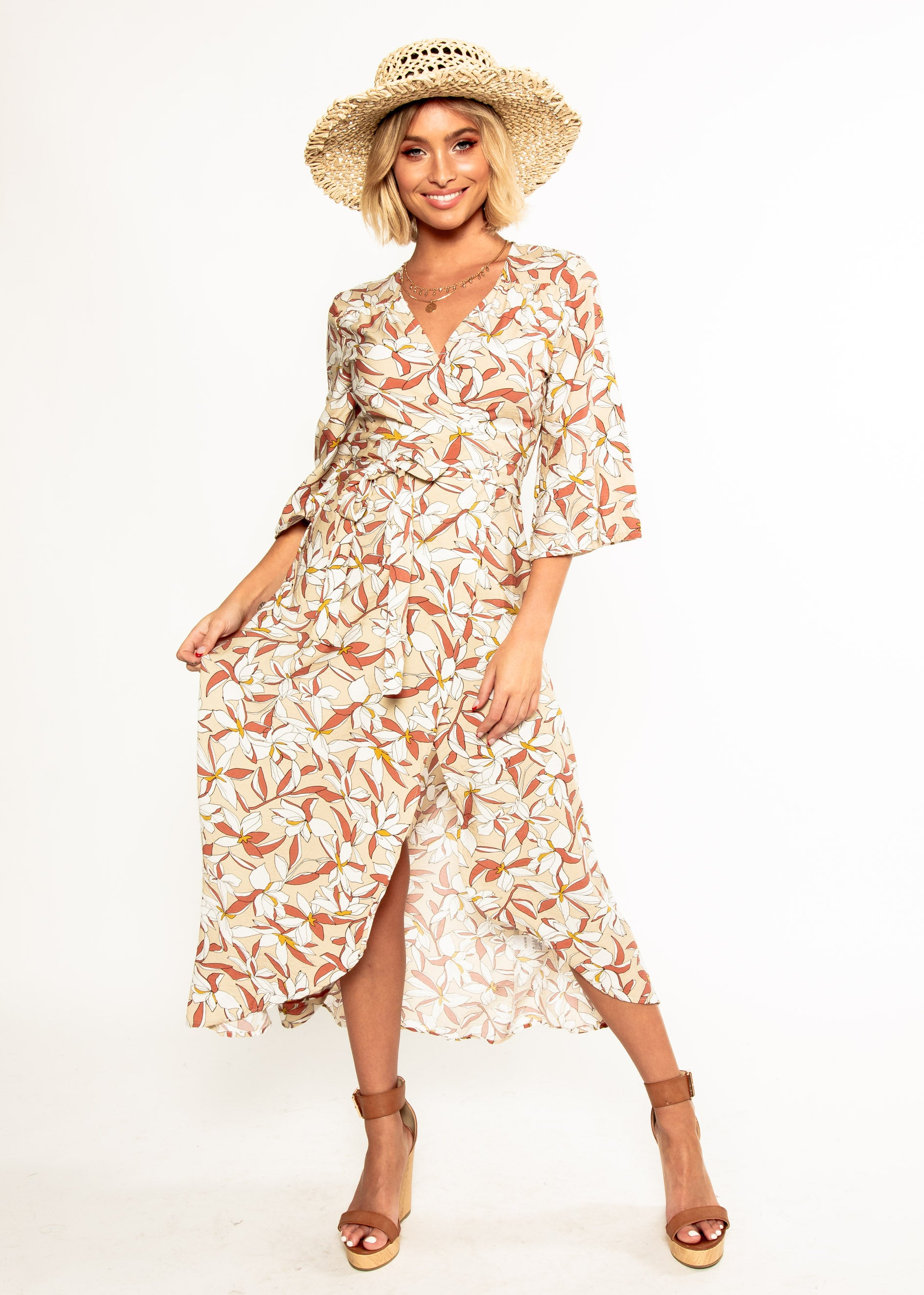 Anabella Maxi Wrap Dress - Tan Floral