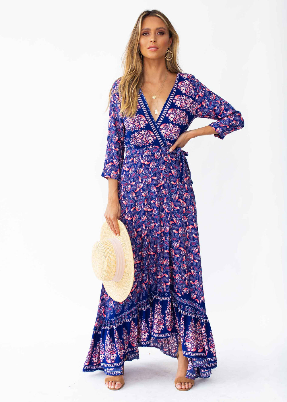 Catching Dreams Maxi Dress - Navy/Red