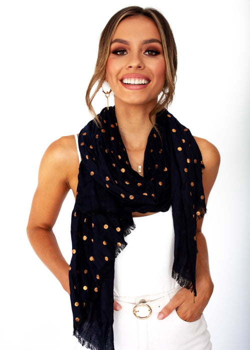 Women's Spot On Scarf - Black