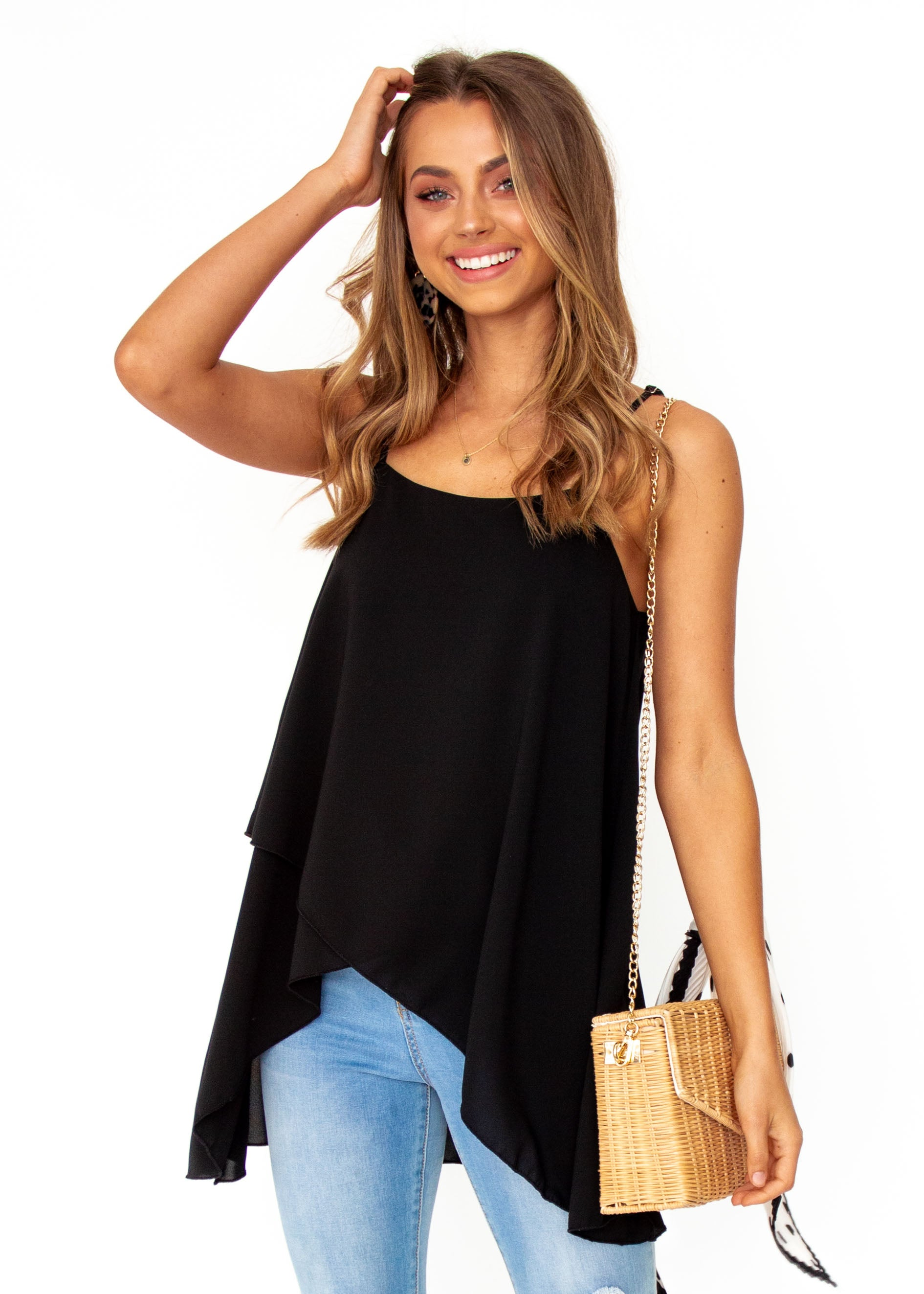 Women's Sefina Asymmetrical Cami - Black