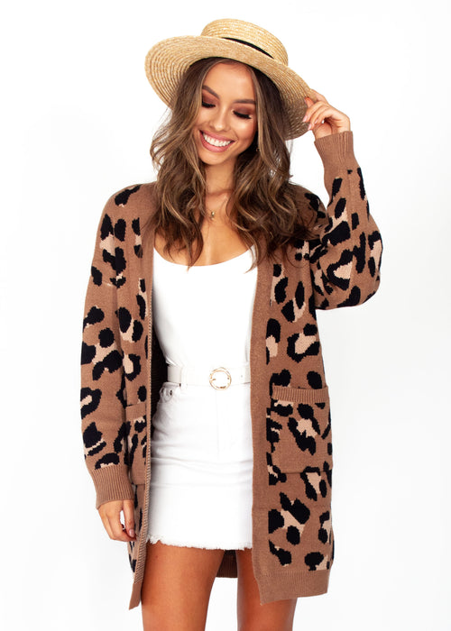 Woman's Better Than Ever Cardigan - Mocha Leopard Print