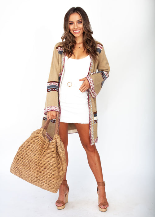 Brenna Cross Stitch Cardigan - Tan - Jaase