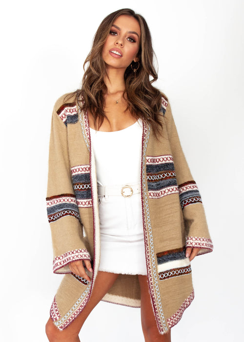 Women's Brenna Cross Stitch Cardigan - Tan - Jaase