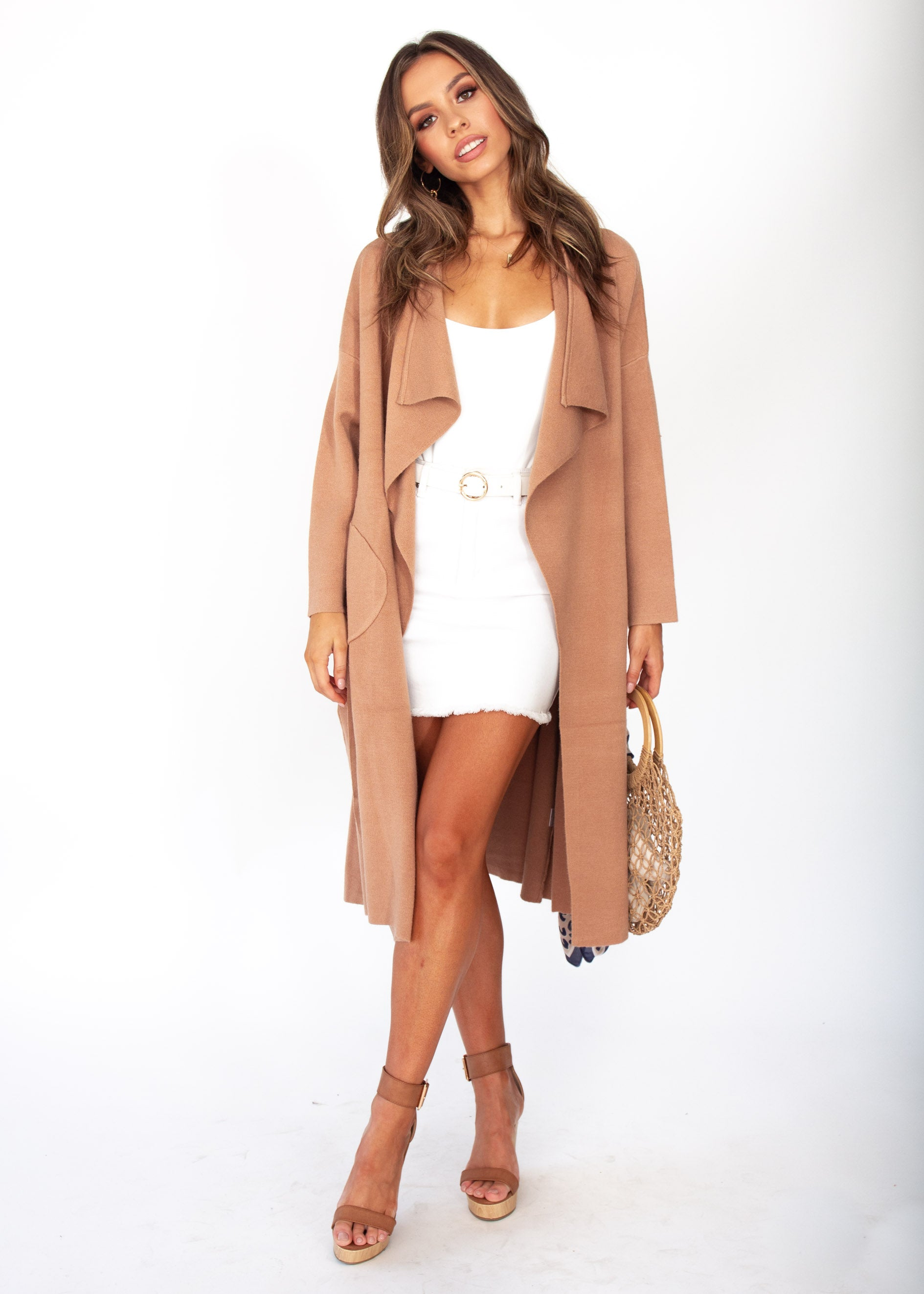 Woman's Virgo Knit Coat - Tan