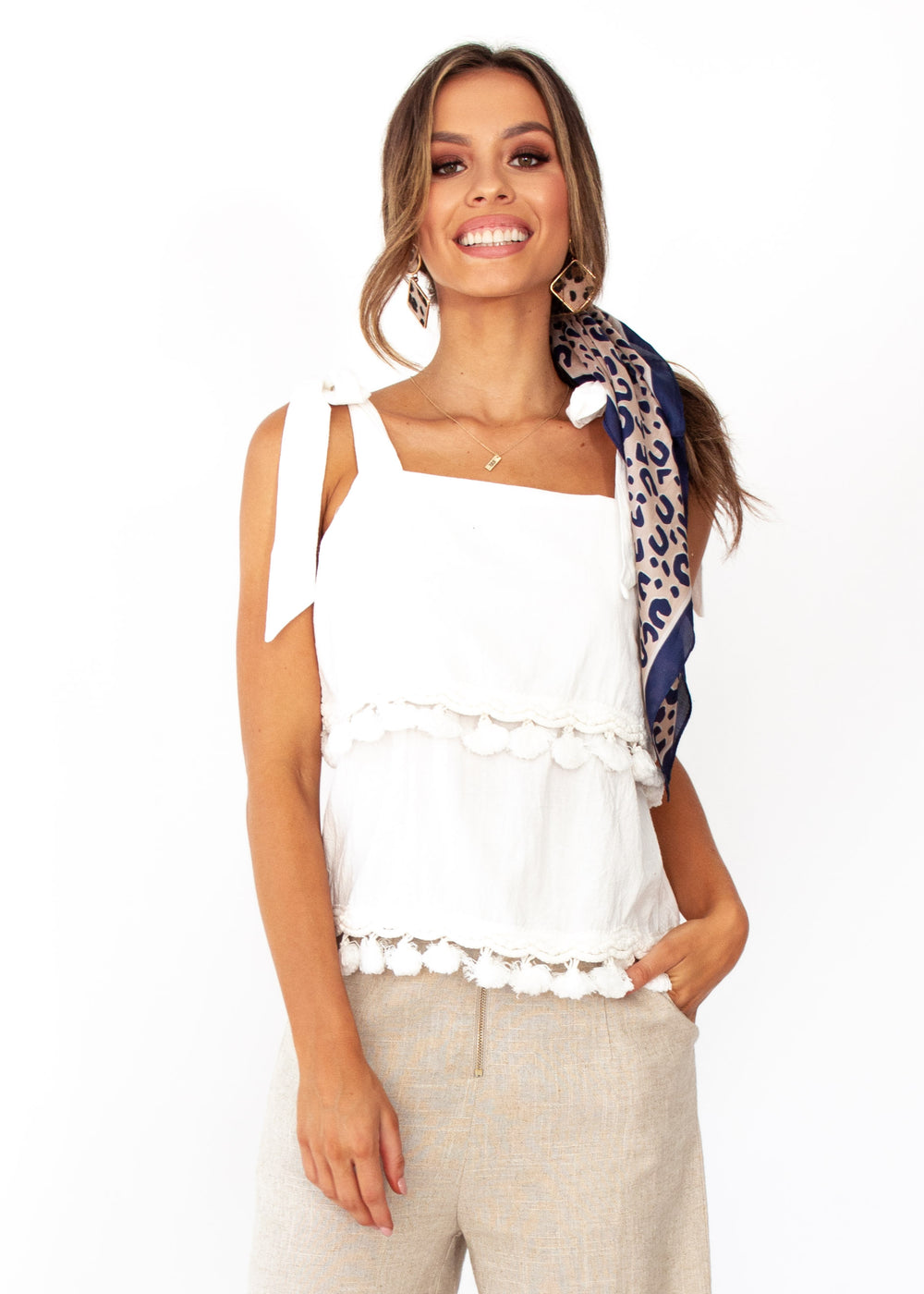 Women's Bare Love Tassel Top - White