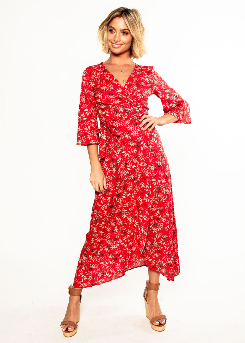 Kalahari Wrap Midi Dress - Red