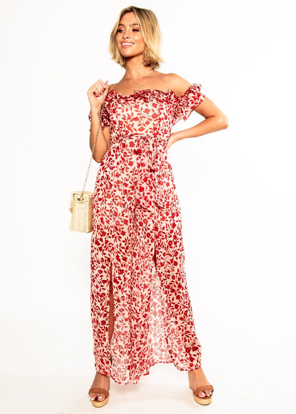 Siren Off Shoulder Pantsuit - Red Floral