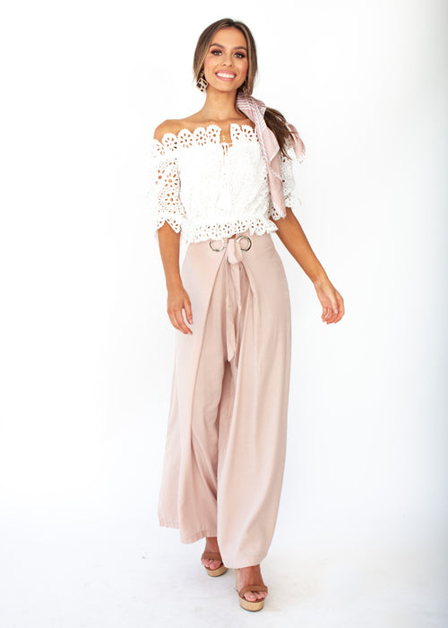 High Energy Wide Leg Pants - Blush