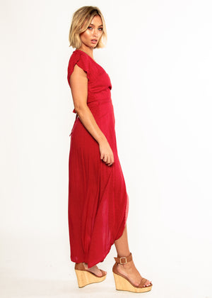 Cortez Maxi Wrap Dress - Red Polka