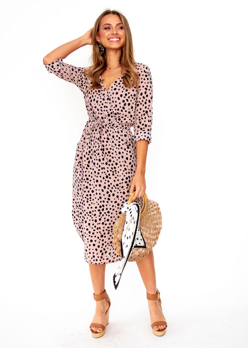 Women's Neve Midi Dress - Blush Spot Print