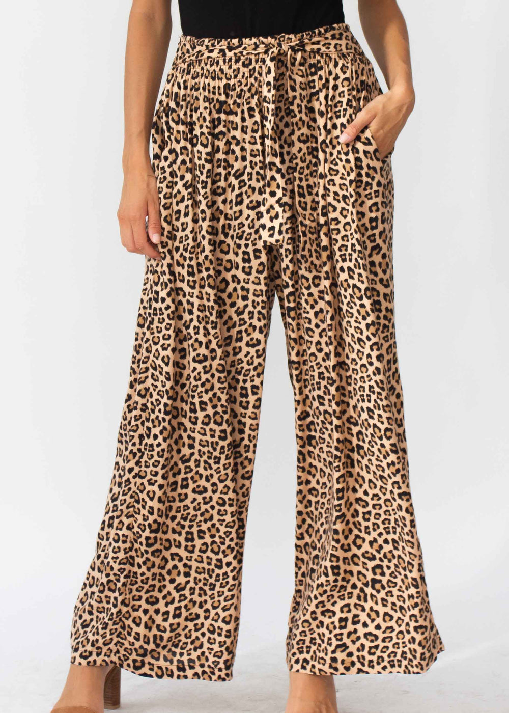 Tori Wide Leg Pants - Leopard