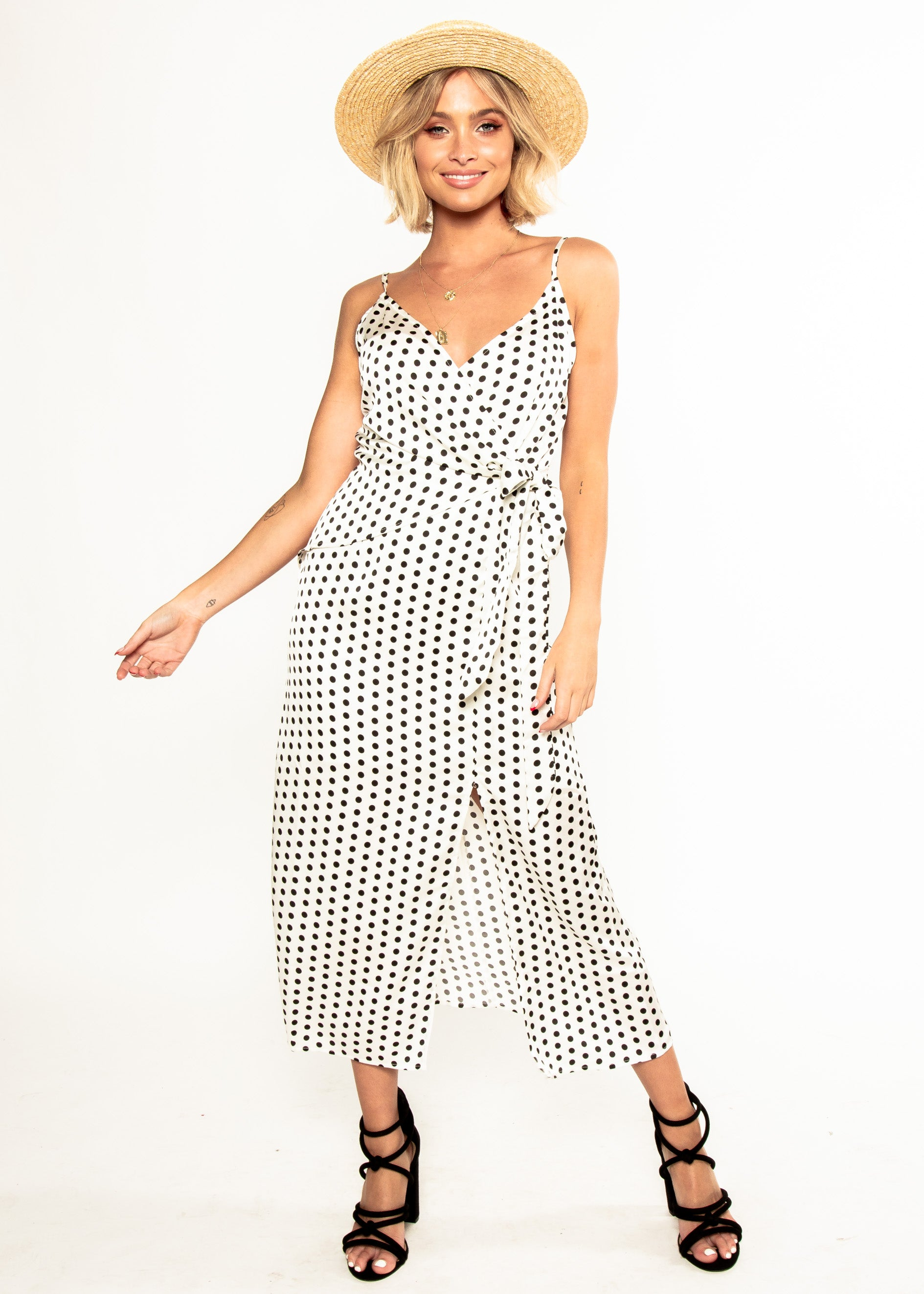 No Ordinary Love Midi Dress - White Polka