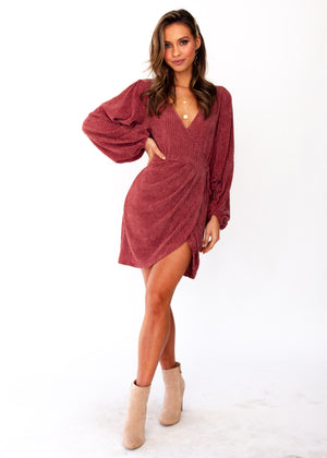 Charli Knit Wrap Dress - Plum