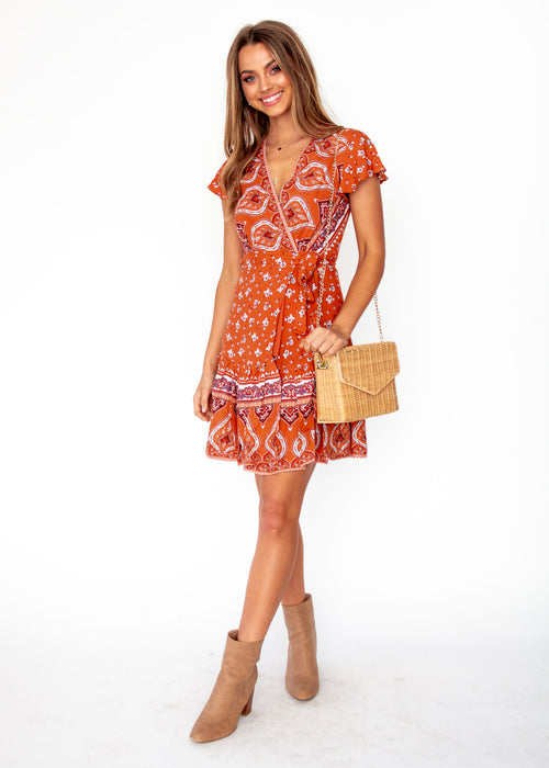 Libra Wrap Dress - Desert - Orange Floral Print