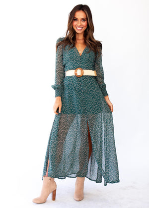 Ceres Maxi Dress w/ Slip - Emerald Floral