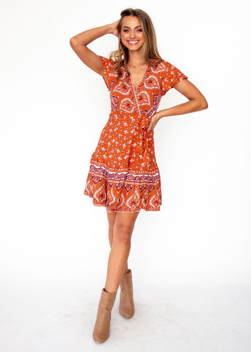 Women's Libra Wrap Dress - Desert - Orange Floral Print