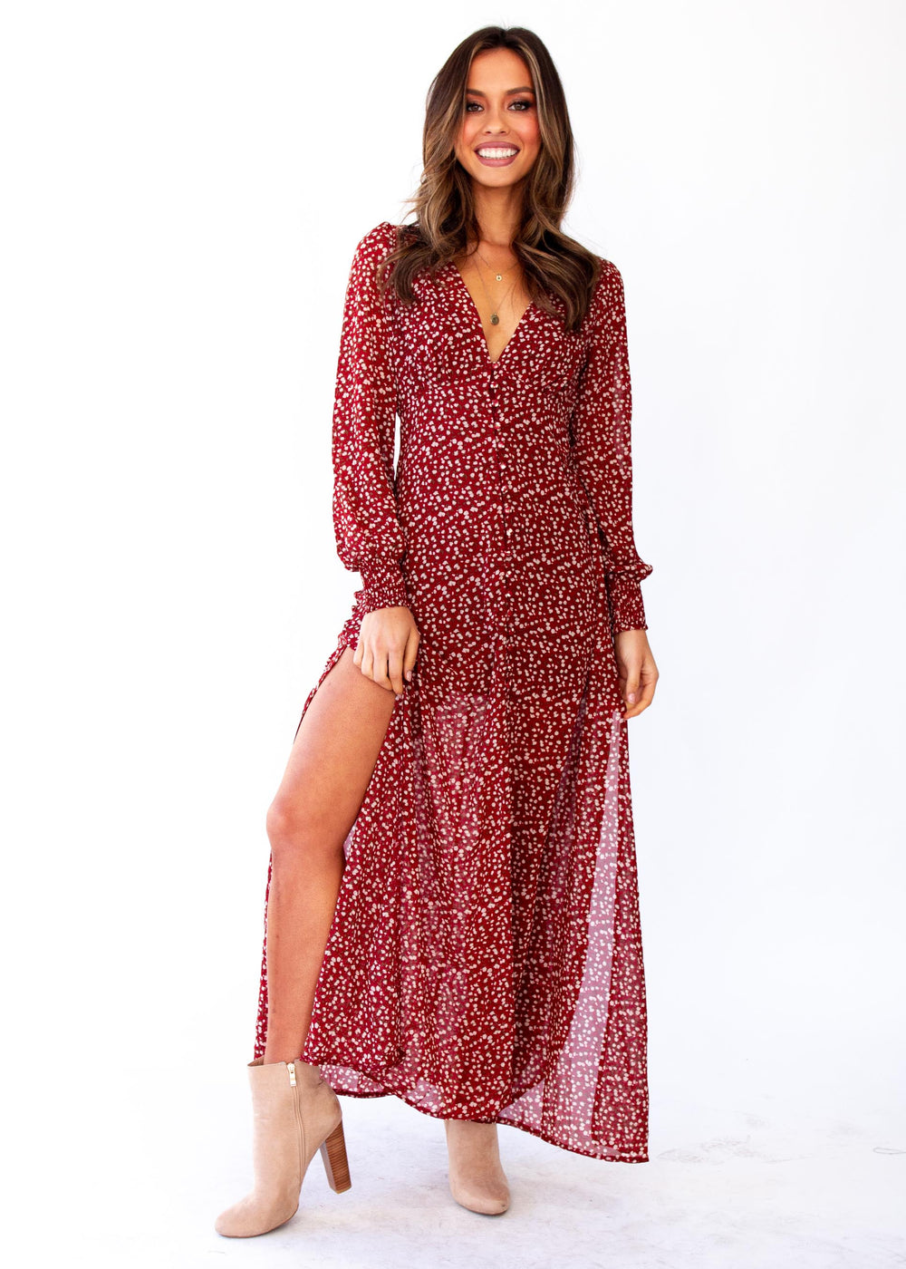 Women's Ceres Maxi Dress w/ Slip - Red Floral