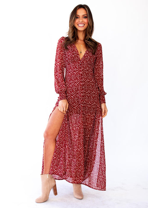 Ceres Maxi Dress w/ Slip - Red Floral