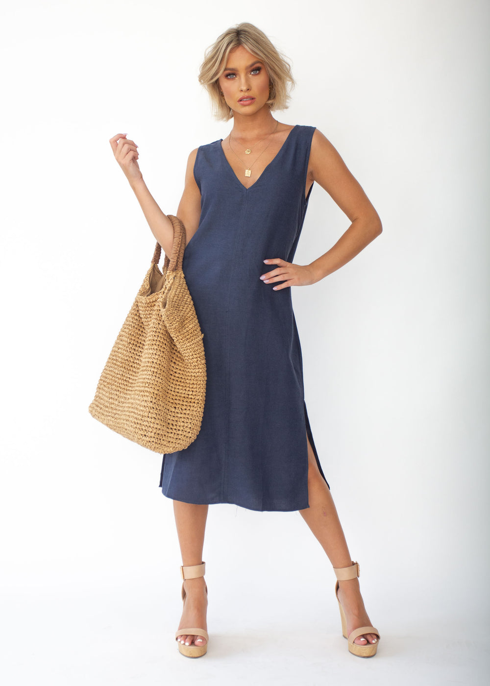 Flynn Midi Dress - Navy
