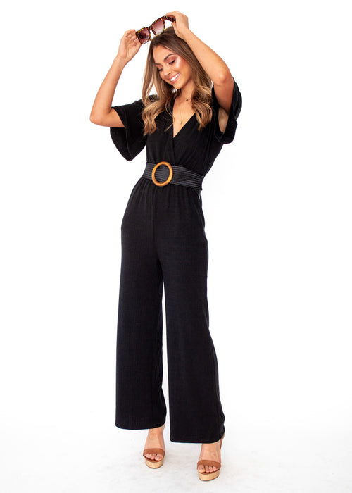 Jaylee Ribbed Pantsuit - Black