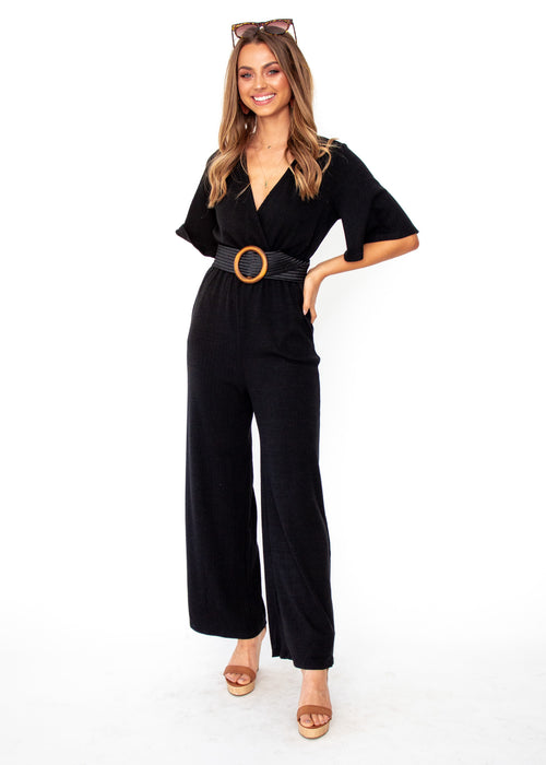 Women's Jaylee Ribbed Pantsuit - Black