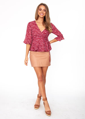 Lost Lover Wrap Top - Wine