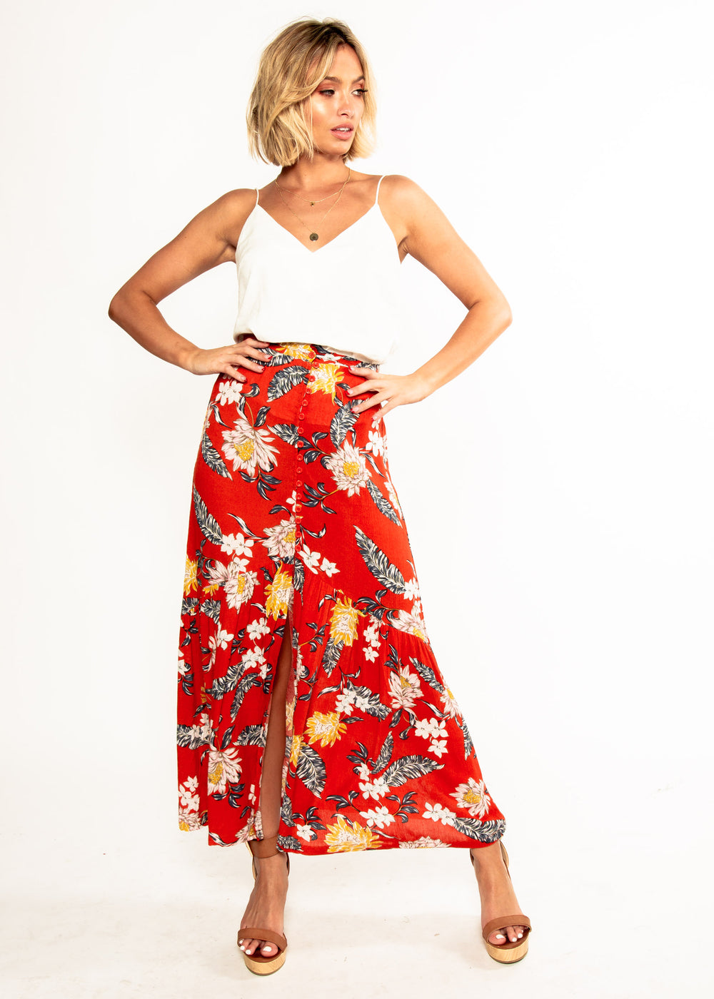 Camelia Maxi Skirt - Red Floral
