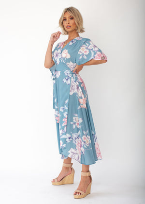 Daphne Midi Wrap Dress - Teal Floral