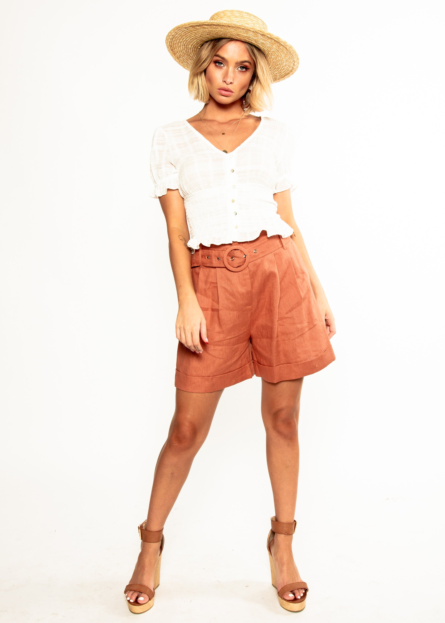 Ellie Cropped Blouse - White