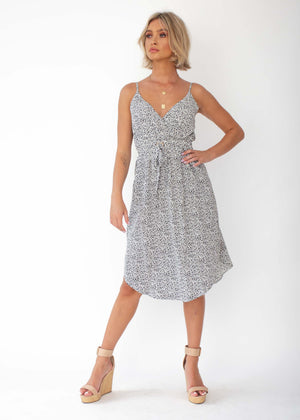 Love No More Midi Dress - White Dot