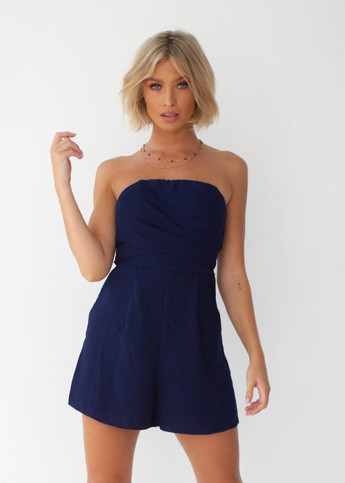 Siobhan Strapless Playsuit - Navy