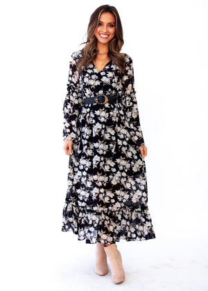 Ruby Maxi Dress - Black Floral