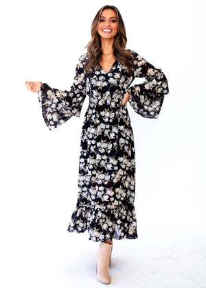 Women's Ruby Maxi Dress - Black Floral