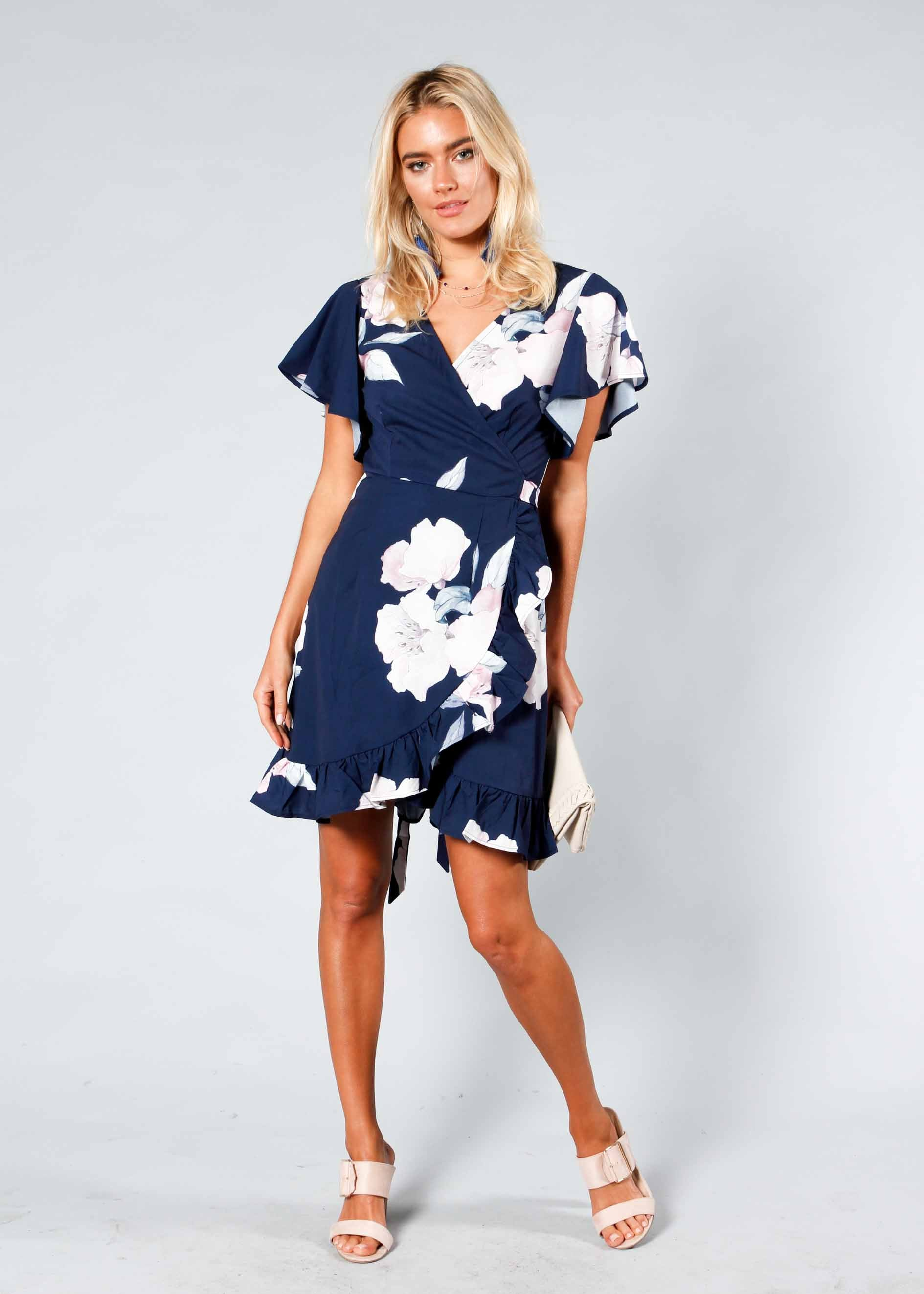 Beyond Belief Wrap Dress - Navy Floral
