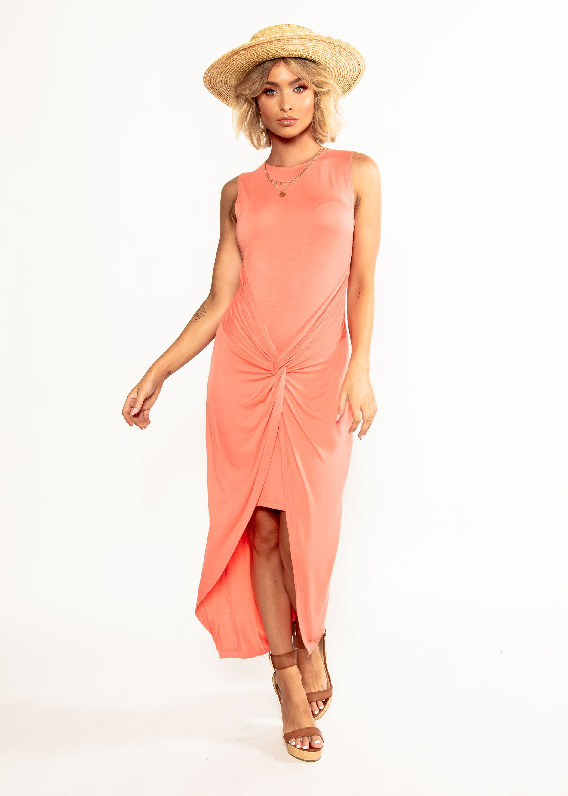 Louisa Jersey Midi Dress - Melon