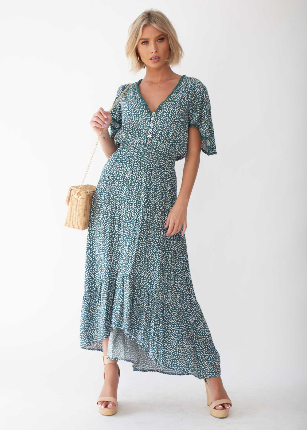 California Valley Midi Dress - Emerald