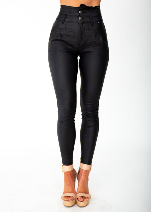 Women's High Waisted Oil Rigger Jeans - Black