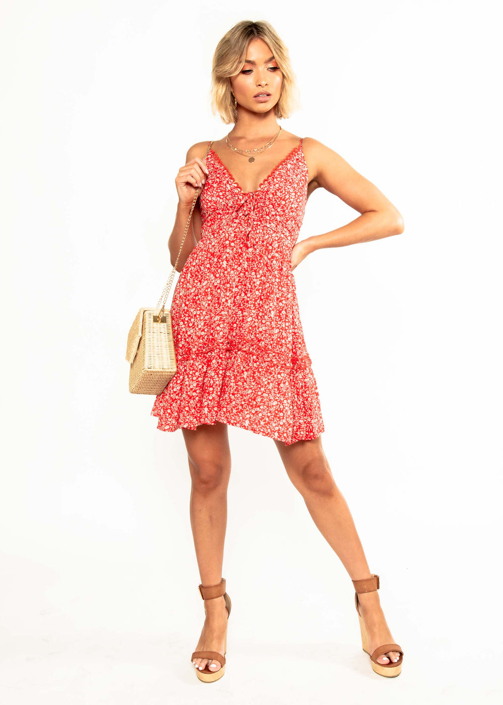 Beatrice Swing Dress - Red Floral