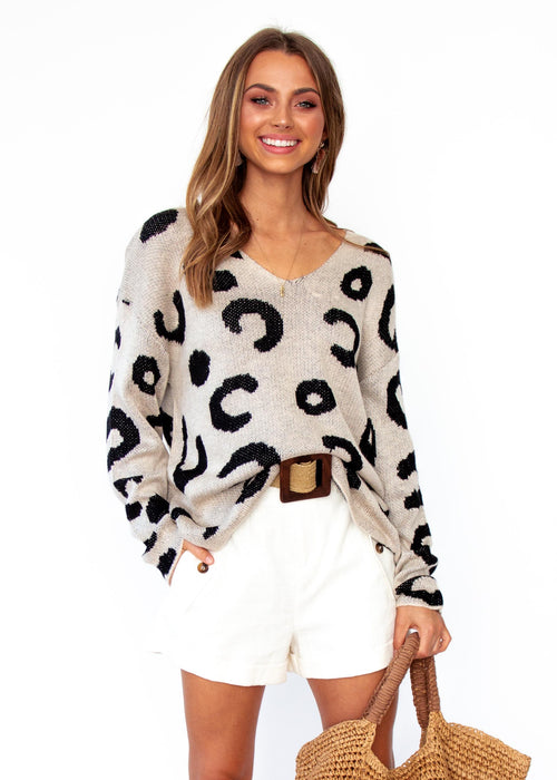 Women's Boston Sweater - Beige Leopard Print
