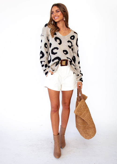 Boston Sweater - Beige Leopard Print