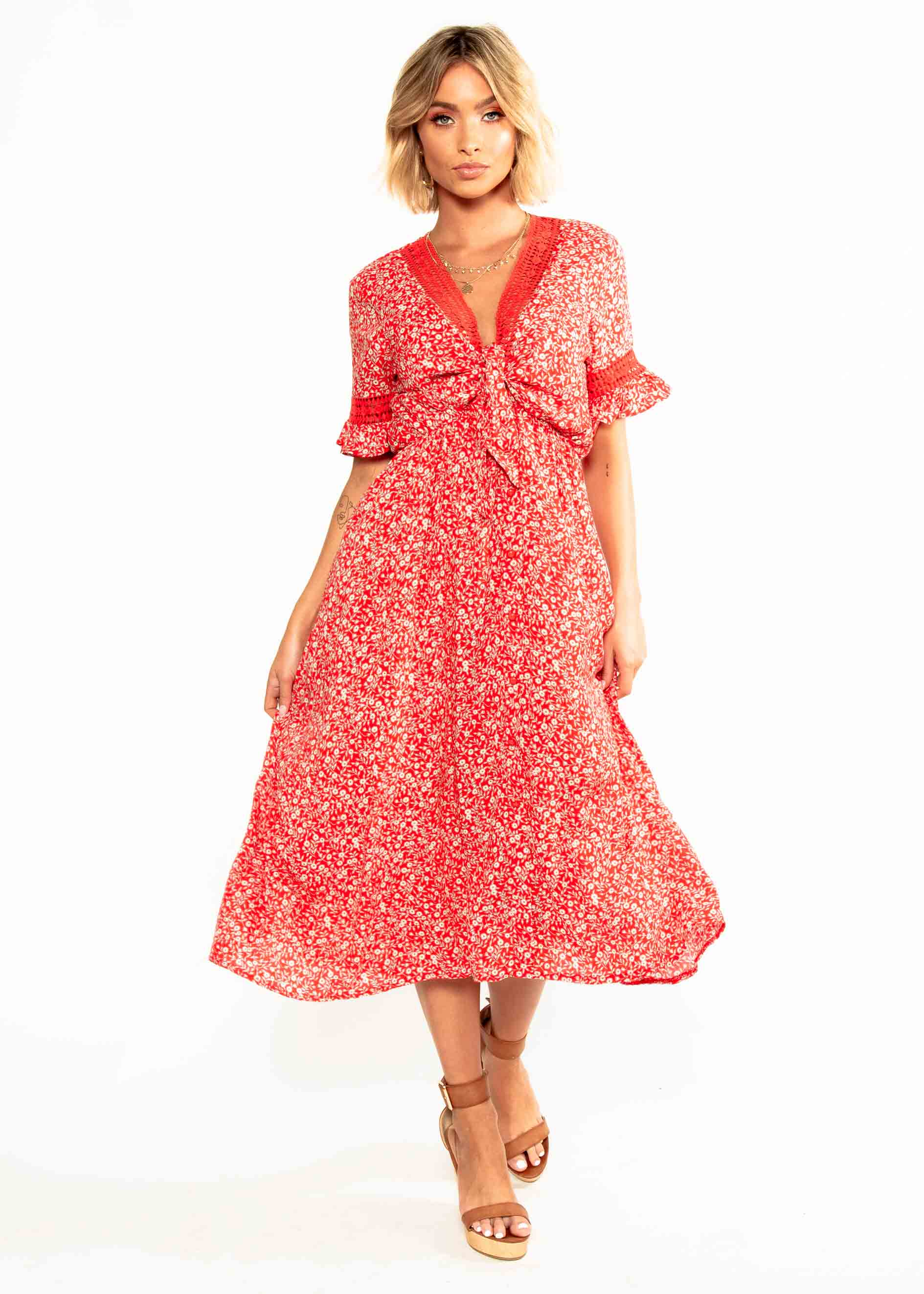 Lovers Kiss Tie Midi Dress - Red Floral