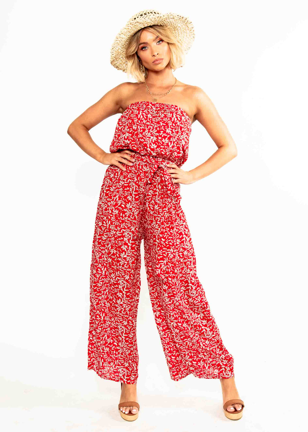 Dream Big Strapless Pantsuit - Red Floral