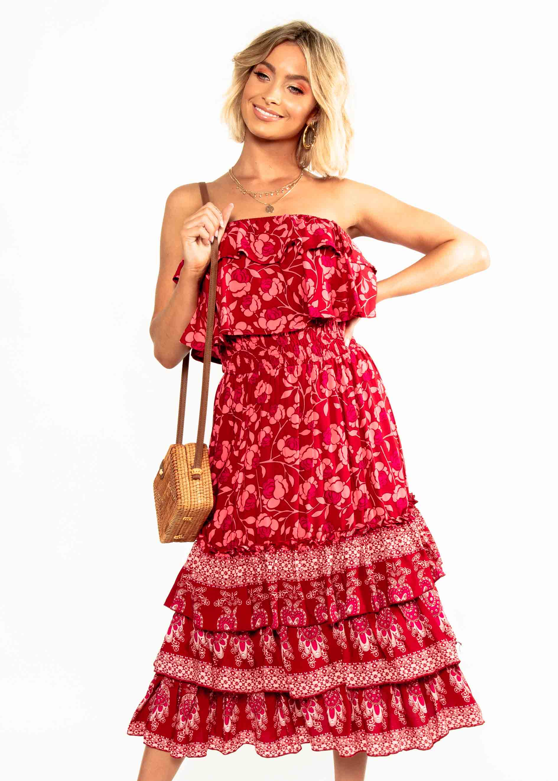 Simona Strapless Midi Dress - Crimson Floral