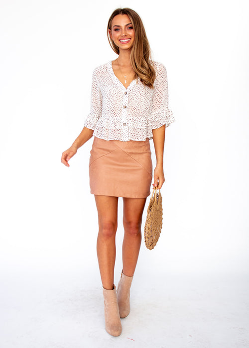 Women's Desert Flame Blouse - Cream Spot Print