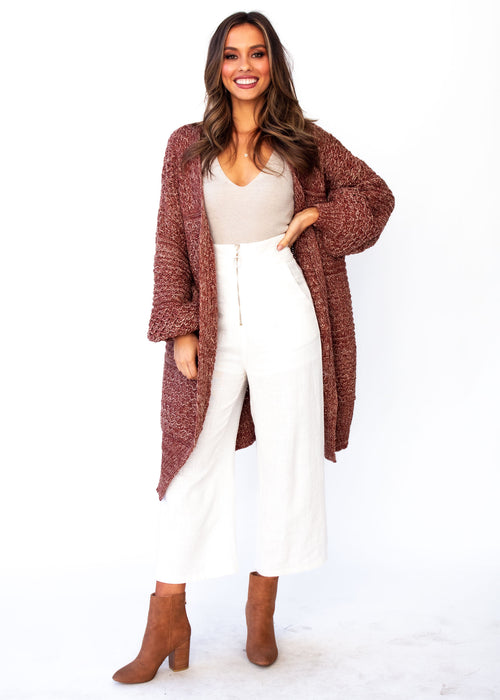 Women's Jupiter Chunky Cardigan - Burgundy