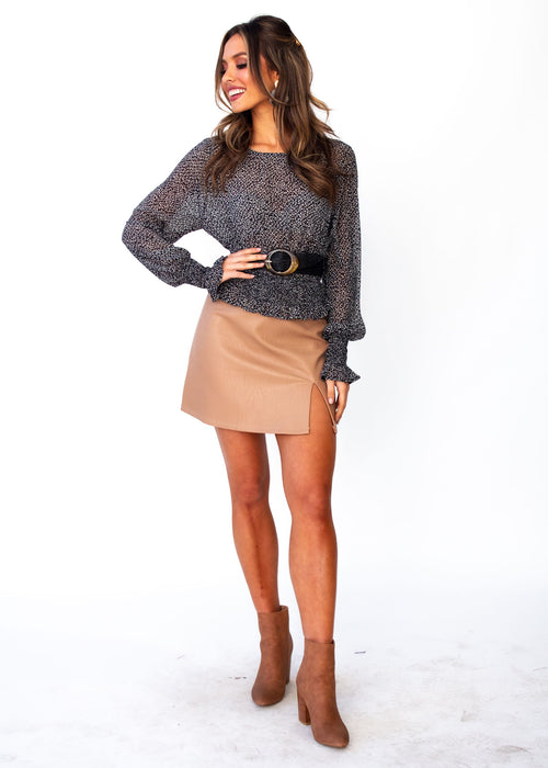 Ellaria PU Skirt - Tan