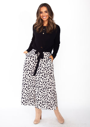Women's Synchronised Culottes - Cream Leopard Print