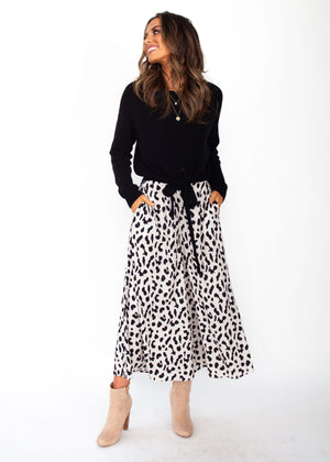 Synchronised Culottes - Cream Leopard Print