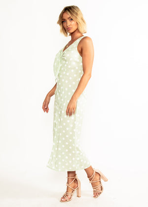 One Of a Kind Midi Dress - Mint Polka