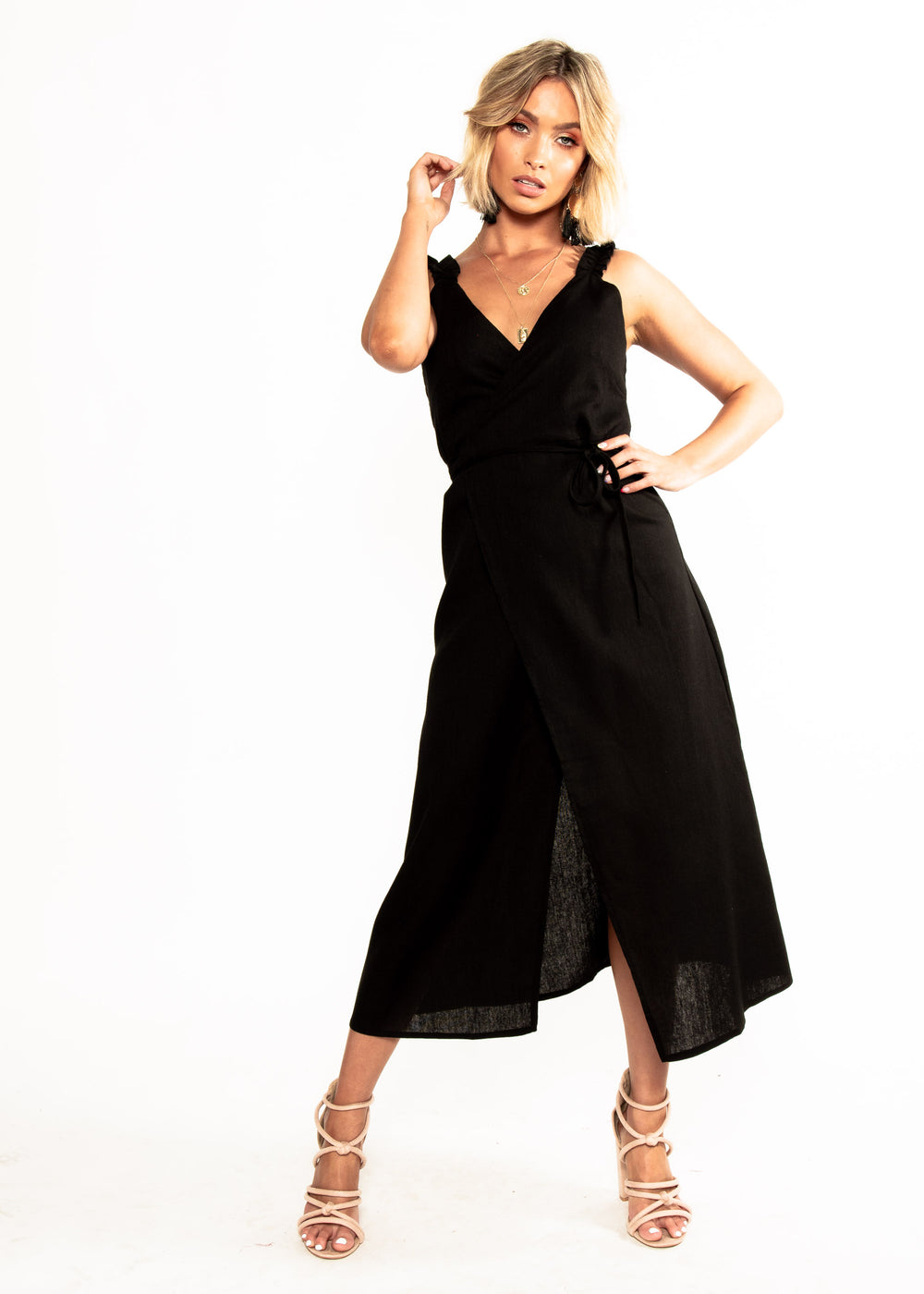 Wicked Games Wrap Midi Dress - Black